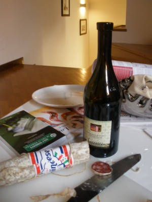 Wine and cheese in bologna